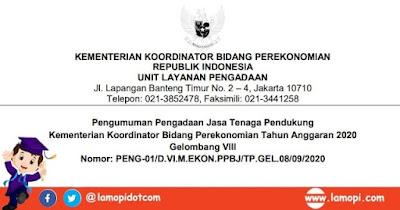 Lowongan Kerja Kementerian Koordinator Bidang Perekonomian Bulan September 2020