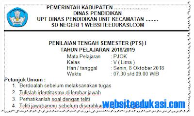Soal PTS/ UTS PJOK Kelas 5 Semester 1 K13 Tahun 2018/2019