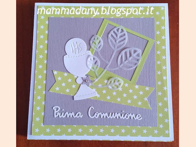Particolare del calice shadow box card verde lime e kraft