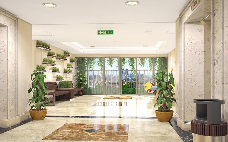 Phần không gian tại hai bên hành lang 100m2 dành riêng làm khu vui chơi trẻ em tại mỗi tầng