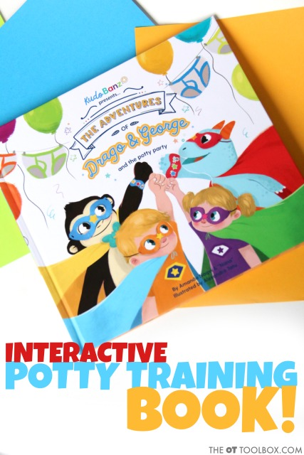 Use a potty training book like the Kudo banz potty party book to teach kids aspects of toileting.