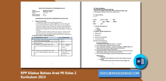 RPP Silabus Revisi 2019-2020 Bahasa Arab MI Kelas 2 Kurikulum 2013