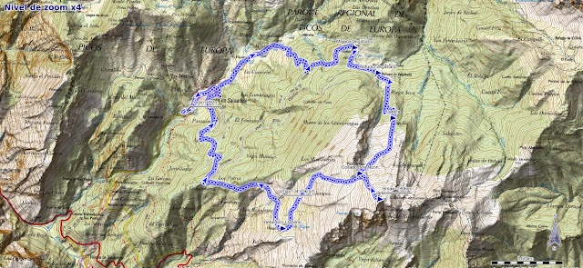Mapa ruta pico Jario desde Soto Sajambre