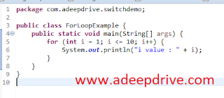 Java For loop, Examples