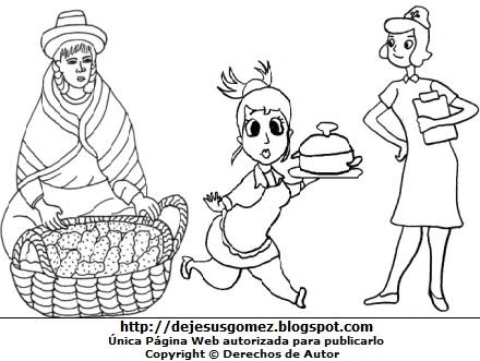 Dibujo de mujeres con trabajo para colorear pintar imprimir. Dibujos de mujeres de Jesus Gómez