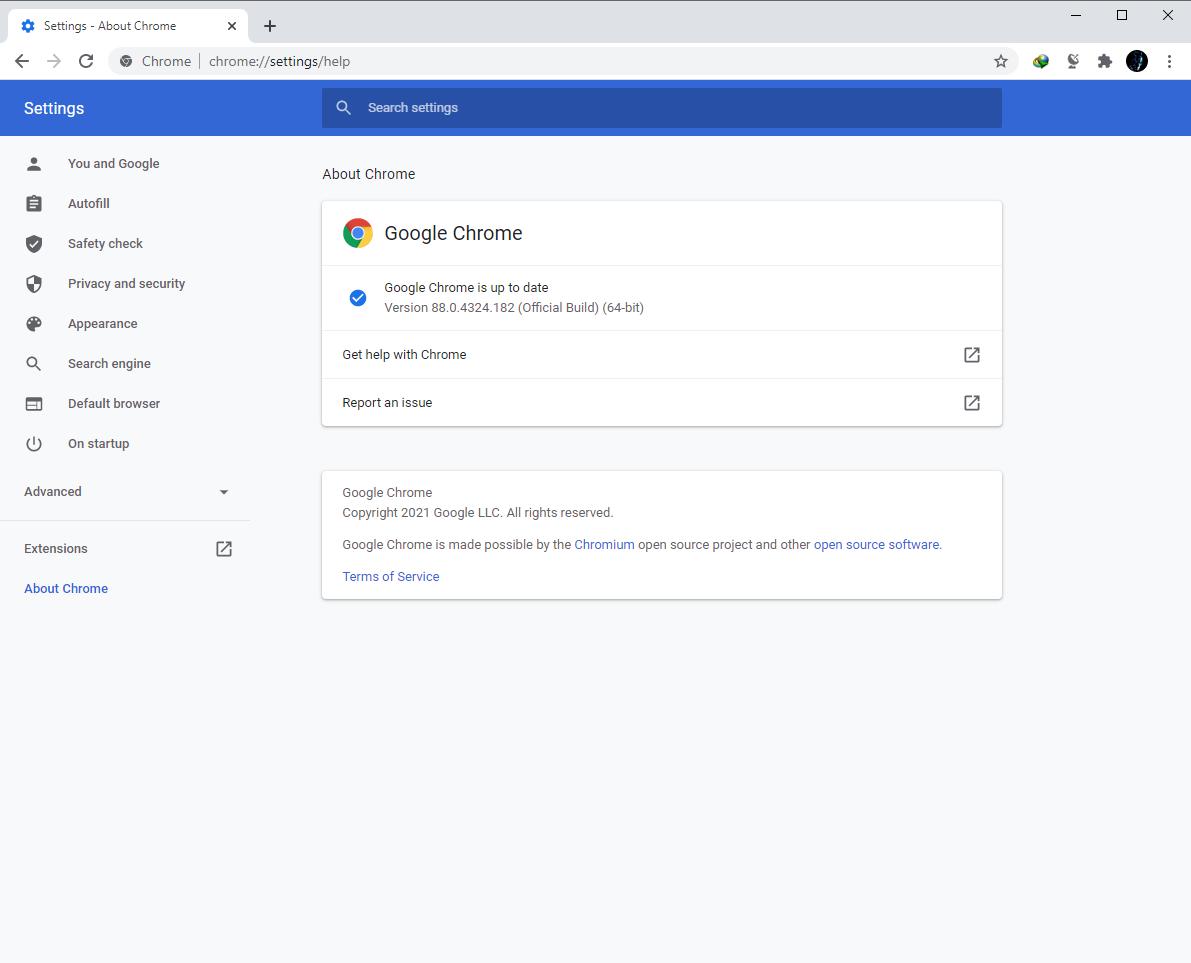 Google Chrome Browser 88.0.4324.182