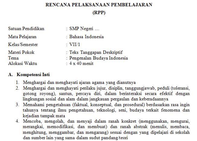 Download Rpp Bahasa Indonesia Kurikulum 2013 Materi Teks Tanggapan Deskriptif Smp Kelas Vii
