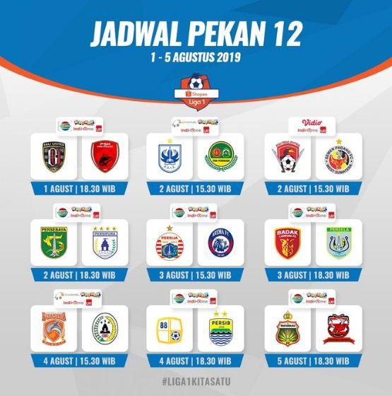 Jadwal Lengkap Liga 1 2019 Pekan 12