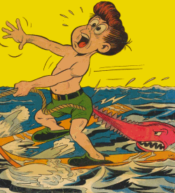 Dessin humoristique d'un enfant mordu par un requin.