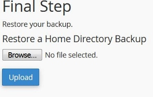 restore WordPress partial backup saved with cPanel