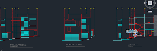 Cottage split level house in AutoCAD