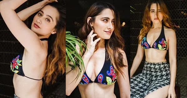 Sanjeeda Shaikh flaunts ample cleavage and sexy back in a string bikini top