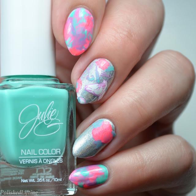 neon unicorn nail art