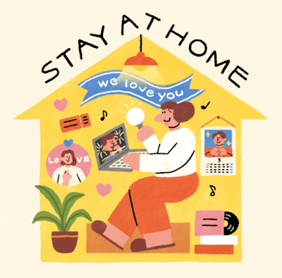 Grafika z żółtym domkiem. Nad dachem napis Stay at home. W środku domku ARMY przed komputerem, a wokół przedmioty związane z BTS.