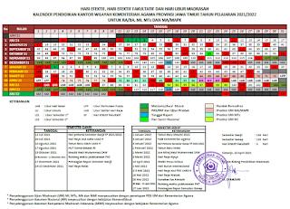 Kalender Pendidikan Provinsi Jawa Timur Tahun Pelajaran 2021-2022