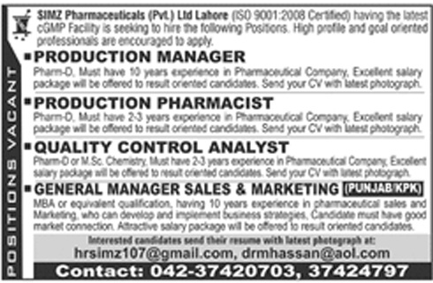 Pharmaceuticals & Marketing sales Staff Required