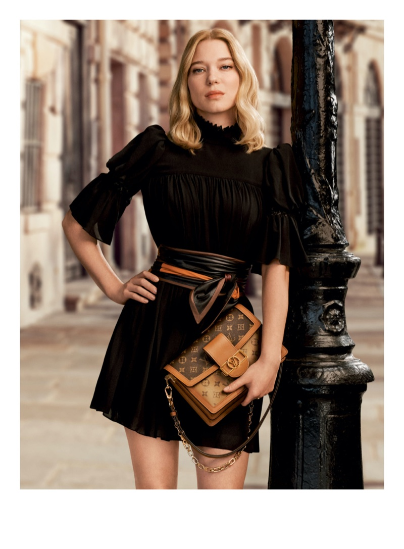 Lea Seydoux poses in Louis Vuitton pre-fall 2020 campaign