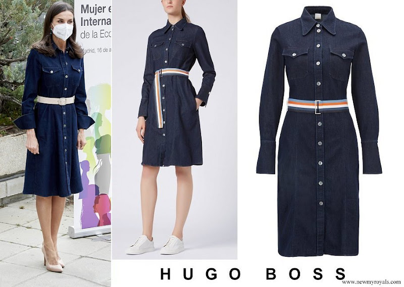 Queen Letizia wore Hugo Boss Caddli Stretch Denim Dress
