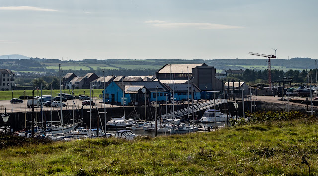 Photo of the view across Maryport Marina from the walk along the old railway line