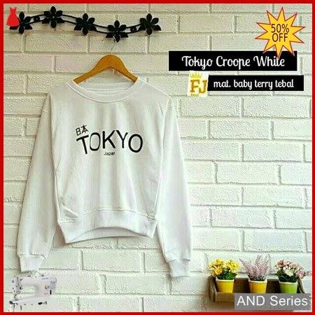 AND185 Sweater Wanita Lucu Tokyo Crop Putih BMGShop