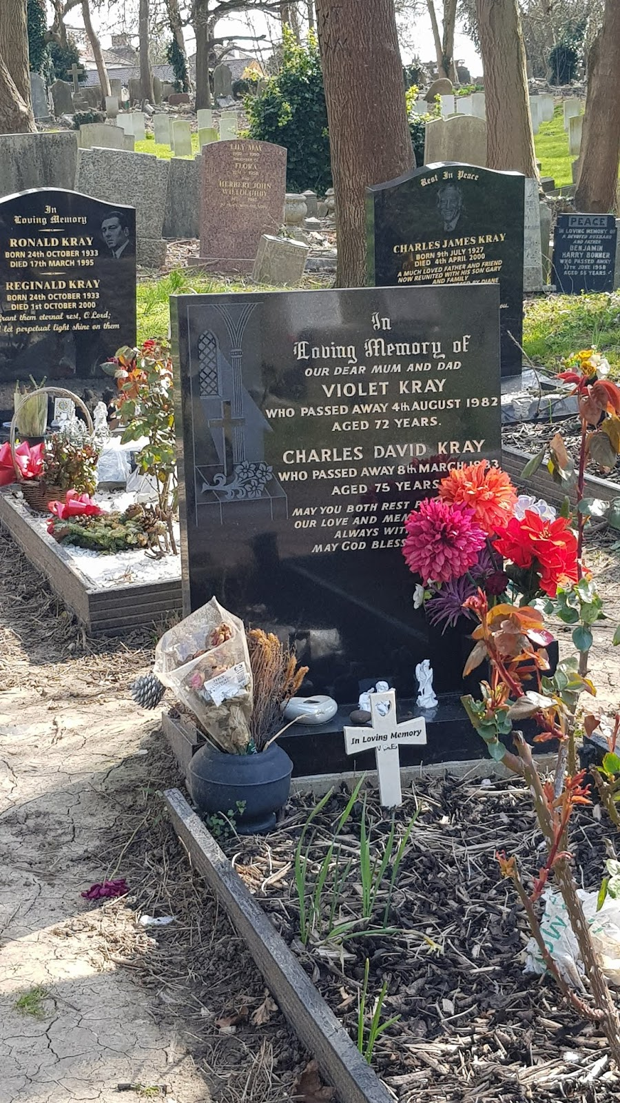 Well tended graves of criminals Ronald and Reginald Kray and their mother Violet in East London