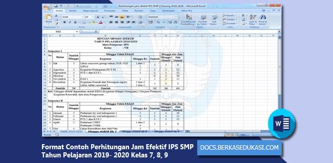 Format Contoh Perhitungan Jam Efektif IPS SMP Tahun Pelajaran 2019-2020 Kelas 7, 8, 9