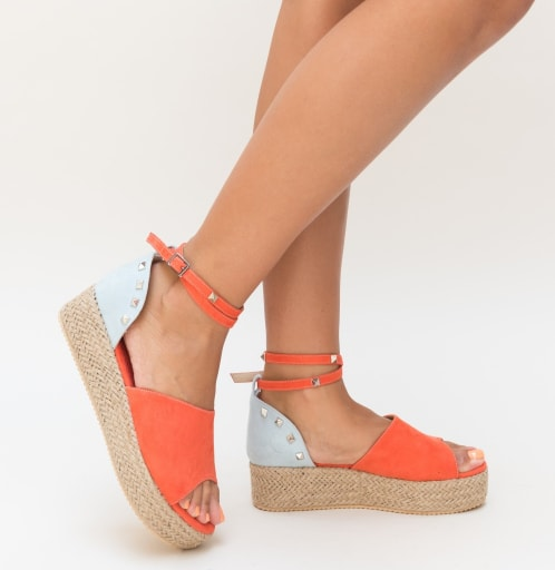 Sandale corai din piele eco intaorsa cu talpa groasa
