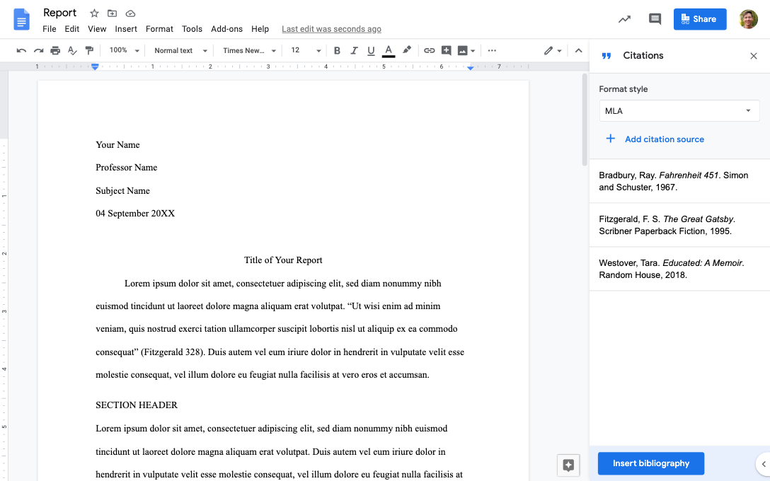 Locating a ready mla format template in google docs. Google Workspace Updates Easily Add And Manage Citations In Google Docs