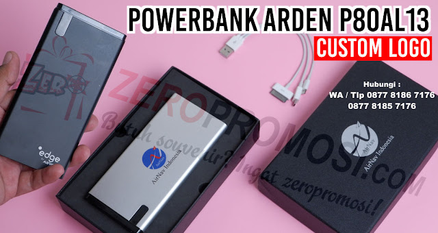 Souvenir PowerBank Arden - P80AL13 Custom Logo, Jual Souvenir dan Merchandise Powerbank Arden di Tangerang