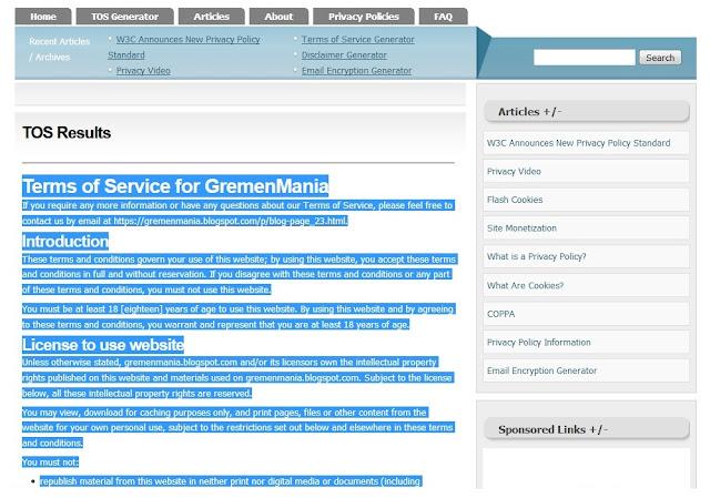 Sobat tinggal copy terus pastekan ke halaman Terms Of Service Sobat.