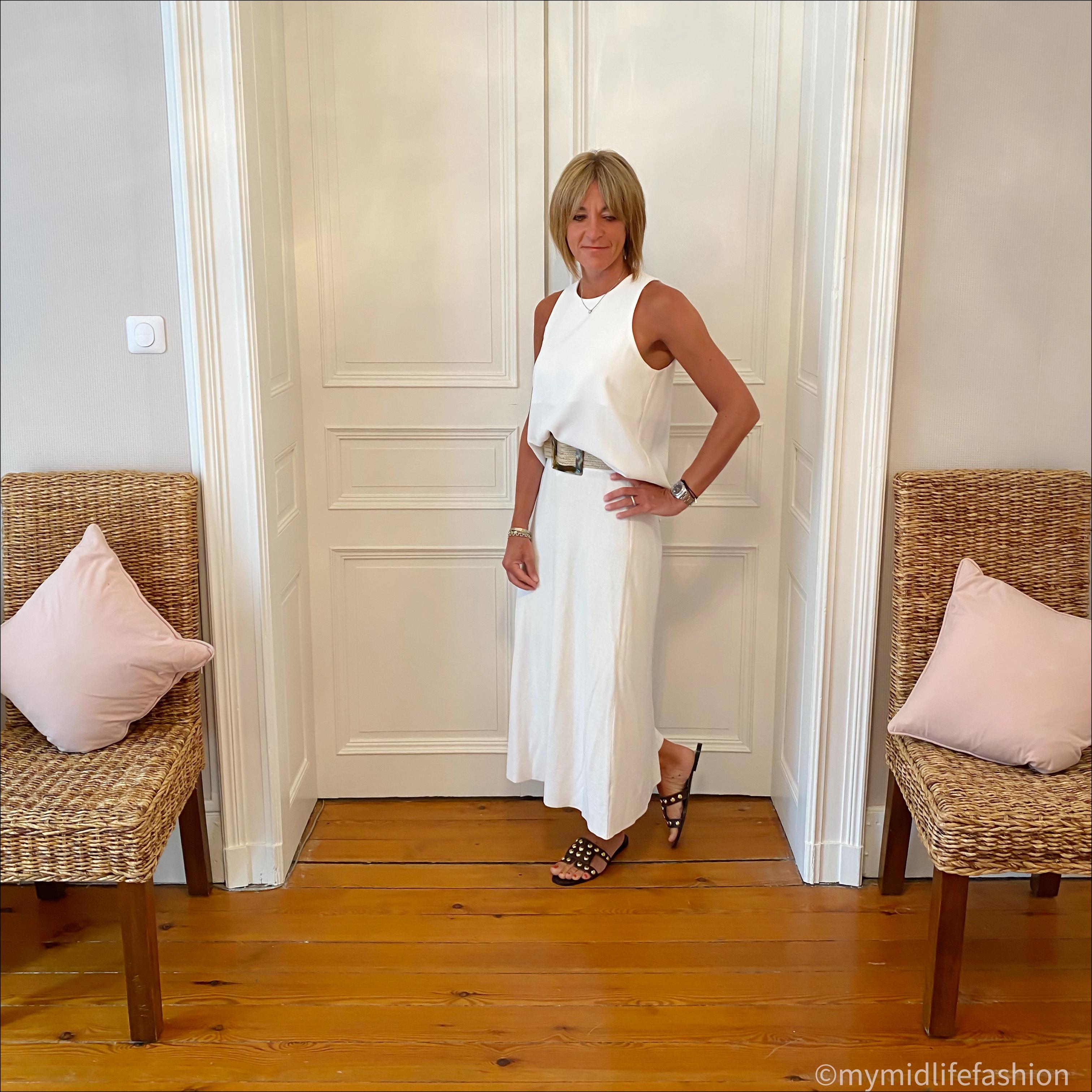 my midlife fashion, zara tank top, zara knitted midi skirt, zara jute belt, zara studded leather sliders