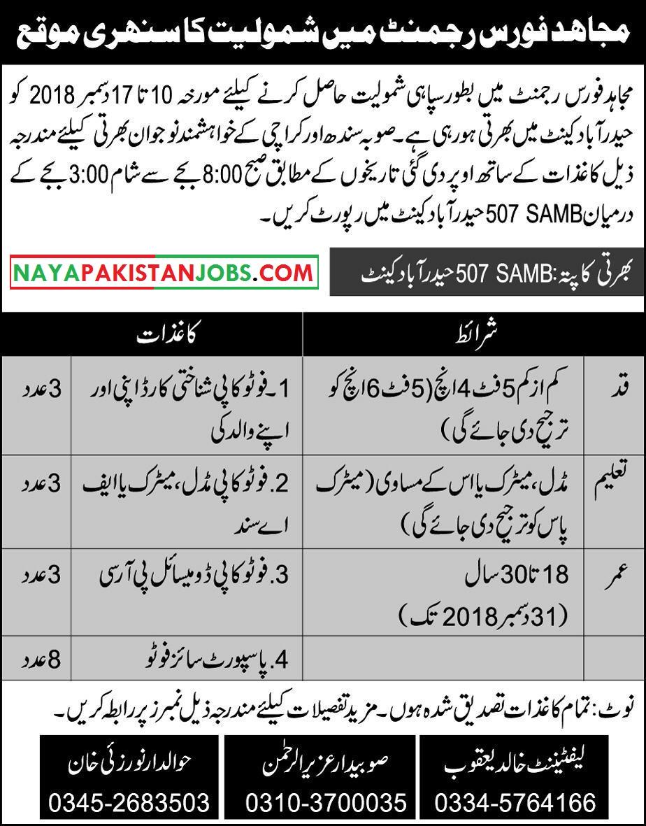 Mujahid Force Jobs, Mujahid Force army jobs karachi , karachi sindh mujahid force jobs