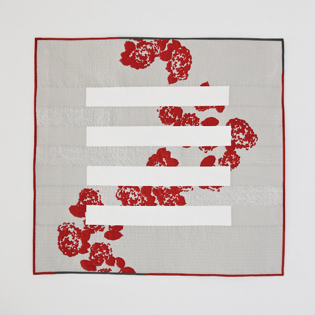 red and grey modern minimal screen-printed quilt | Lovely and Enough