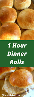 1 Hour Dinner Rolls: Hot, steamy rolls slathered in butter are the perfect accompaniment to any meal, especially when they are homemade! - Slice of Southern