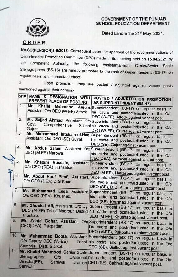 PROMOTION ORDER OF ASSISTANTS TO THE RANK OF SUPERINTENDENT IN EDUCATION DEPARTMENT