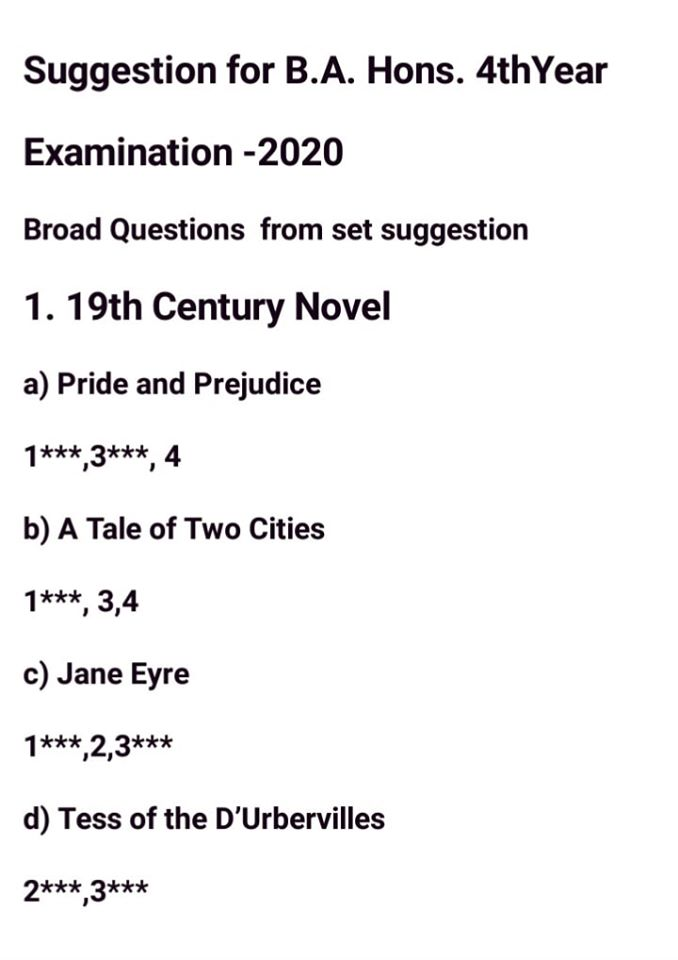 Nu Honours 4th Year Final Suggestion 2020-Department of English All Part Suggestion 2020