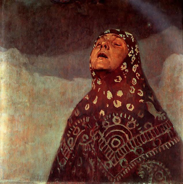 Альфонс Муха - Зимняя ночь. Фрагмент. 1920