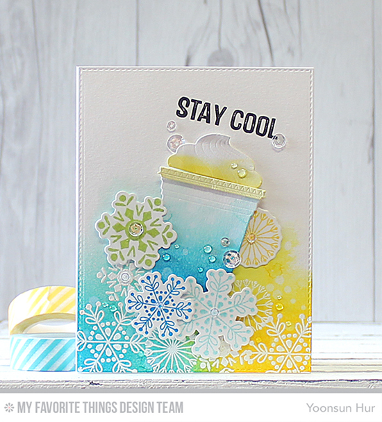 Handmade card from Yoonsun Hur featuring Snowflake Flurry stamp set and Die-namics, Laina Lamb Design Stay Cool stamp set and Cool Cup Die-namics #mftstamps