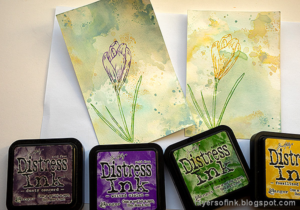 Layers of ink - Crocus in Watercolor and Pencil Tutorial by Anna-Karin Evaldsson. With Simon Says Stamp Thoughtful Flower stamp. Stamp the crocus with Distress Ink.