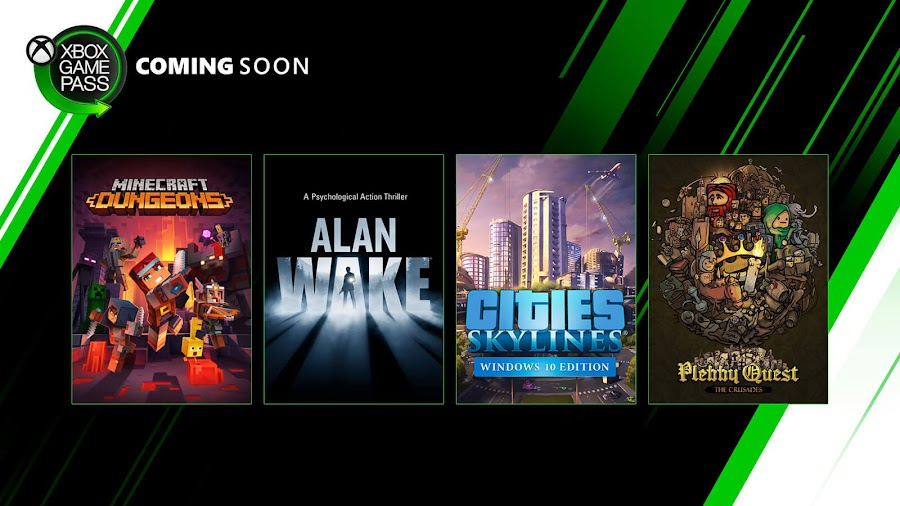 xbox game pass alan wake cities skylines minecraft dungeons plebby quest crusades xb1 2020