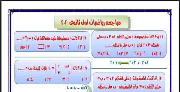 المراجعة الشاملة فى الرياضيات للصف الاول الثانوى النظام الحديث الترم الثانى 2020