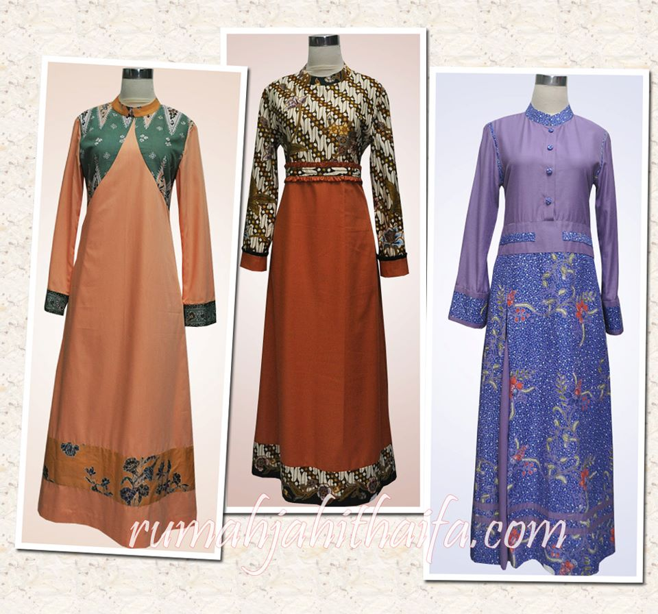 Model Gamis Batik Kombinasi Kain Polos Trend Fashion Indonesia