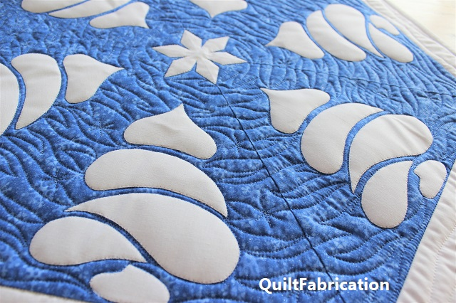 Winter Forest table topper quilting by QuiltFabrication