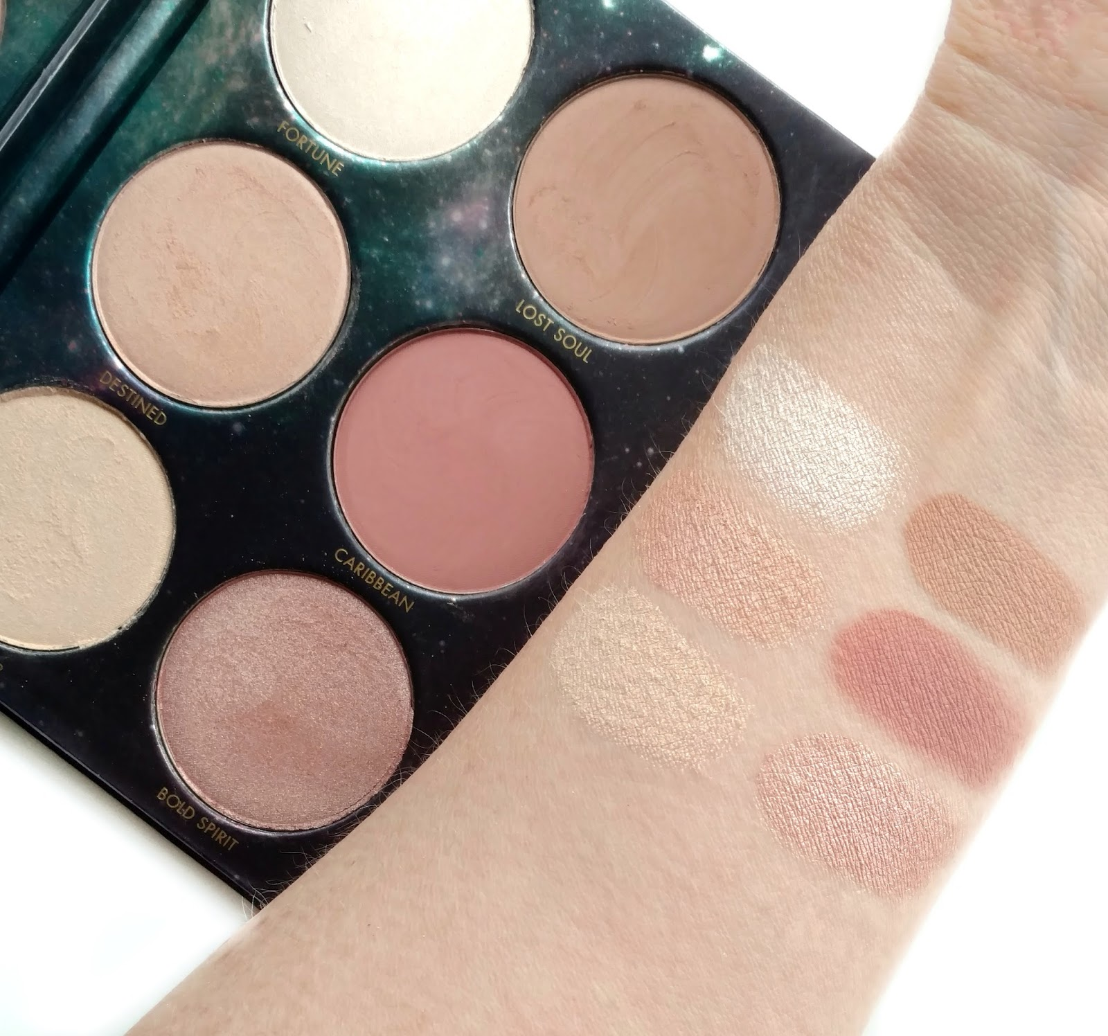 lorac pirates of the caribbean cheek palette swatches