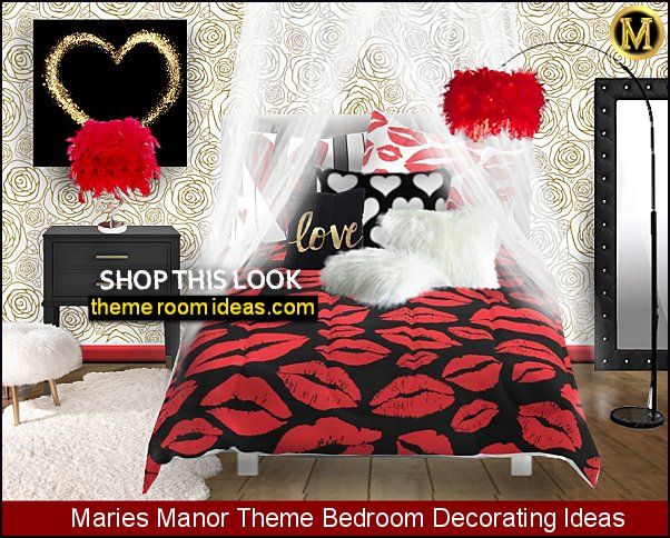 hearts kisses bedroom romantic bedroom decorating red lips bedding heart pillows feather lamps