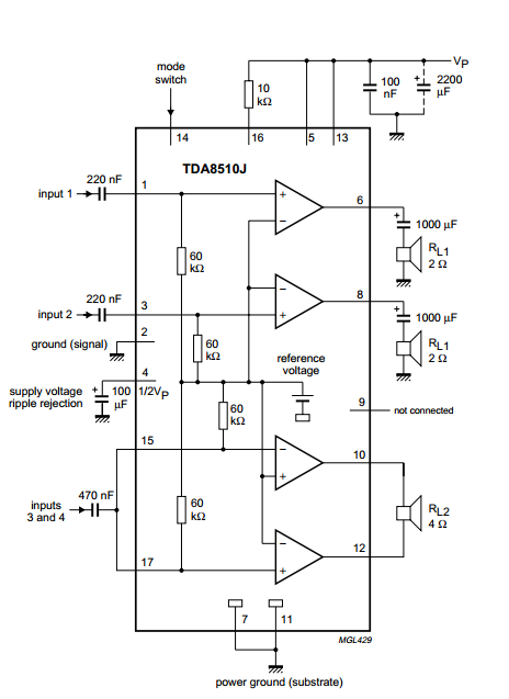 tda8510j power amplifiers 2 x 13 26w. Black Bedroom Furniture Sets. Home Design Ideas