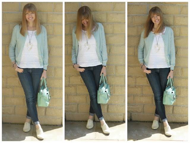 Blogger wearing white broderie t shirt with aqua cardigan, turned up jeans,yellow leather brogues.