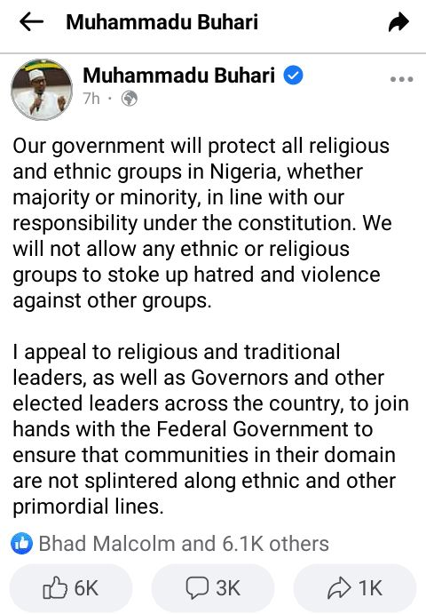 What President Buhari said after the arrest of the protesters