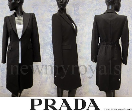Crown Princess Mary wore Prada Cappotto black coat