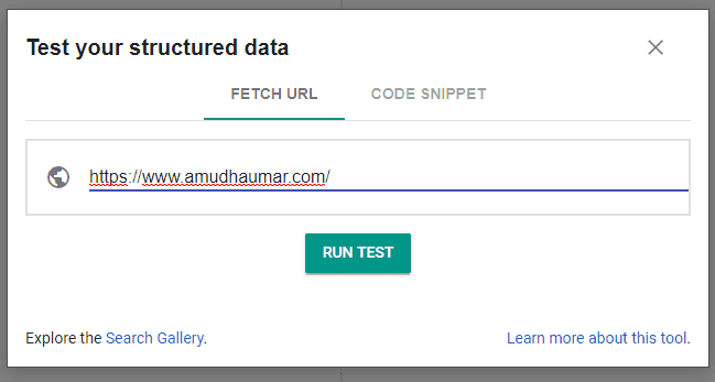 Testing Structured Data Using Fetch URL Option